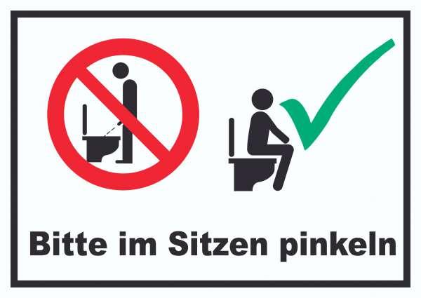 Bitte im Sitzen pinkeln Schild
