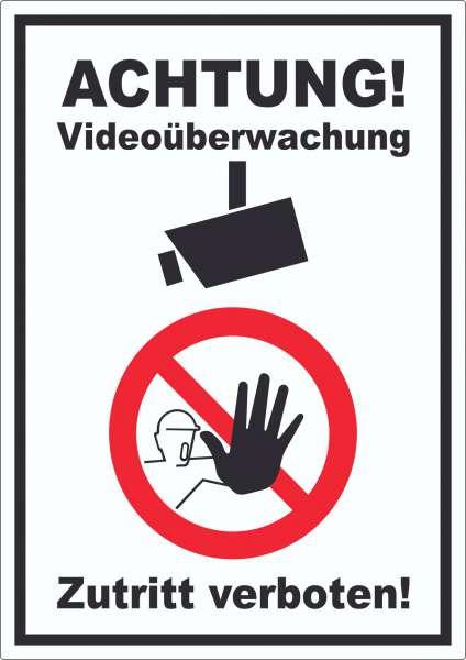 Achtung Videoüberwachung Zutritt verboten Aufkleber
