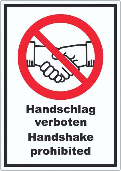 Handschlag verboten Handshake prohibited Aufkleber Symbol und Text Aufkleber