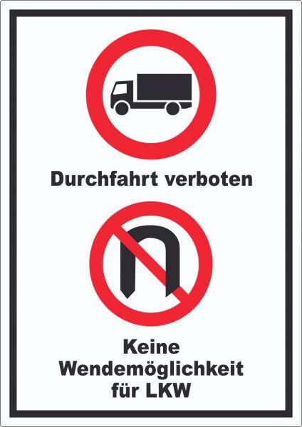 Durchfahrt verboten LKW Keine Wendemöglichkeit für LKW Aufkleber