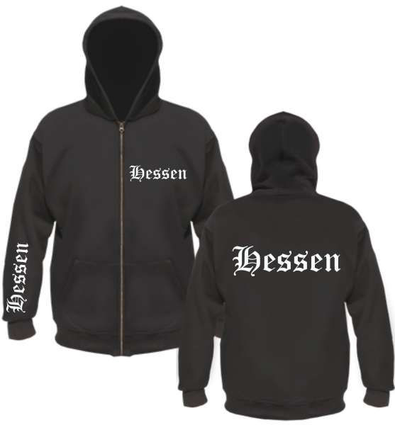 Hessen Kapuzenjacke - altdeutsch bedruckt - Sweatjacke Jacke Hoodie