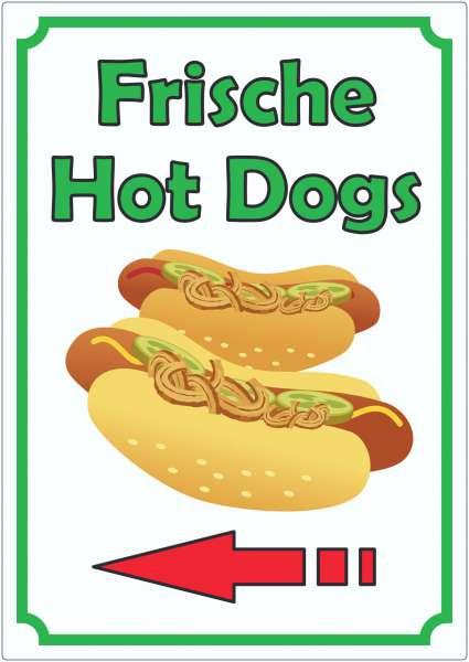 Frische Hot Dogs Aufkleber Hochkant mit Pfeil links
