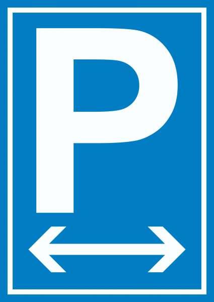 P Parkplatz Schild mit Pfeil nach rechts und links