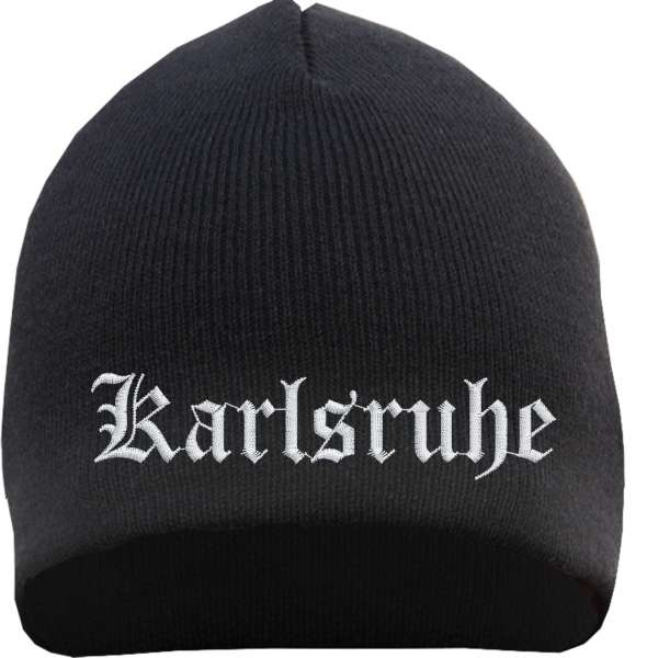 Karlsruhe Beanie Mütze - Altdeutsch - Bestickt - Strickmütze Wintermütze