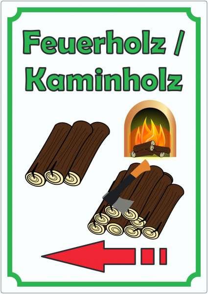 Werbeaufkleber Aufkleber Feuerholz Hochkant mit Pfeil links