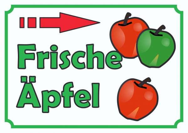 Verkaufsschild Schild Äpfel rechts