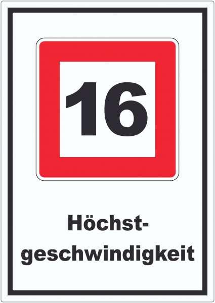 Höchstgeschwindigkeit 16 kmh nicht zu überschreiten Aufkleber mit Symbol und Text