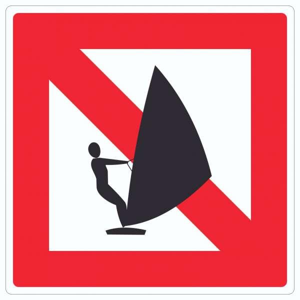 Windsurfen verboten Segelsurfen verboten Symbol und Text