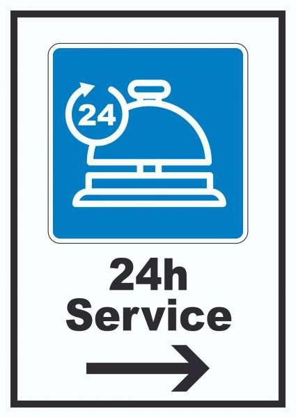 24H Service Schild mit Pfeil rechts
