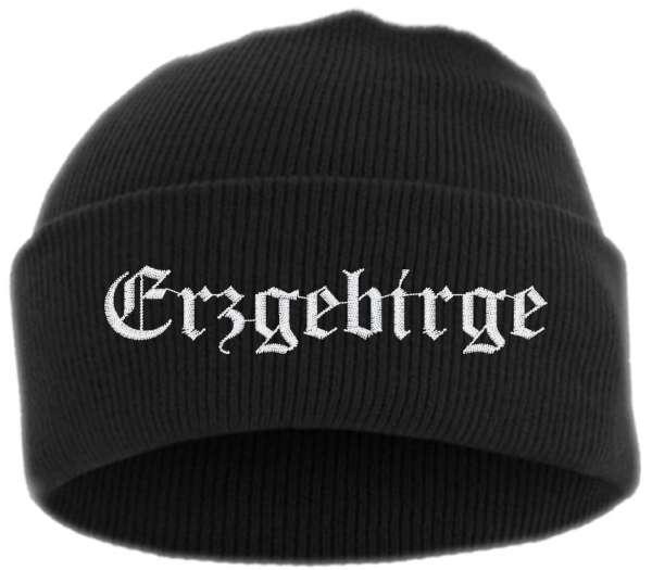 Erzgebirge Umschlagmütze - Altdeutsch - Bestickt - Mütze mit breitem Umschlag