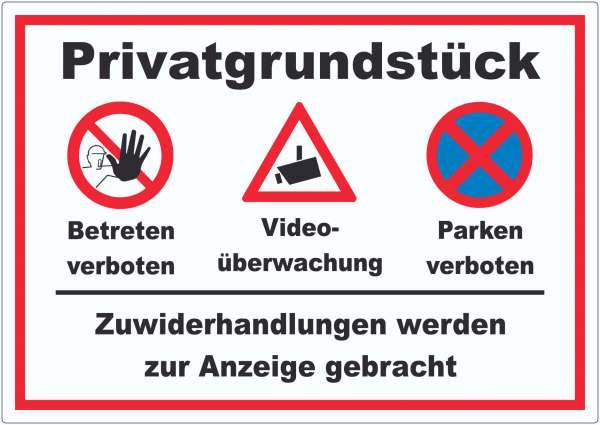 Privatgrundstück Betreten und Parken verboten Videoüberwachung Aufkleber