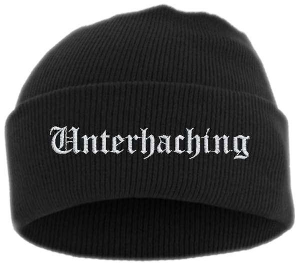 Unterhaching Umschlagmütze - Altdeutsch - Bestickt - Mütze mit breitem Umschlag