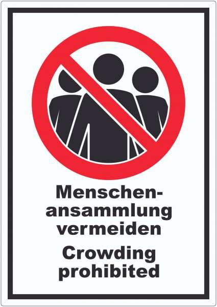 Menschenansammlung vermeiden Crowding prohibited Symbol und Text Aufkleber