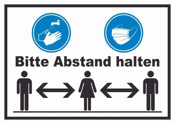 Hände waschen Mundschutz Abstand Schild