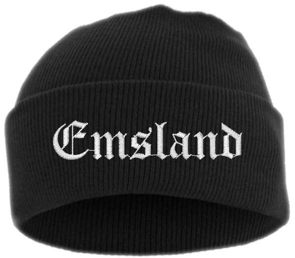 Emsland Umschlagmütze - Altdeutsch - Bestickt - Mütze mit breitem Umschlag