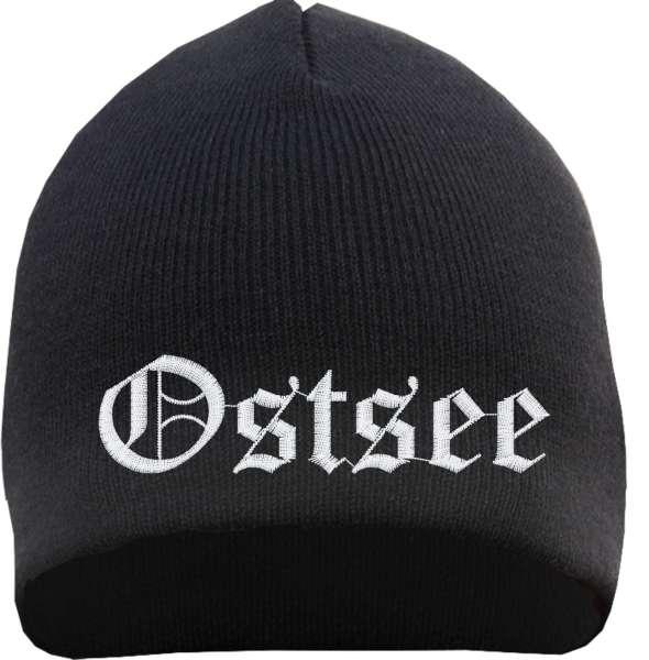 Ostsee Beanie Mütze - Altdeutsch - Bestickt - Strickmütze Wintermütze