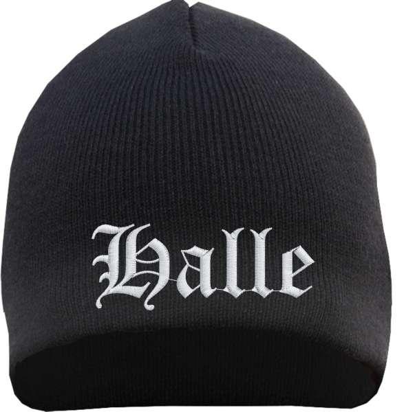 Halle Beanie Mütze - Altdeutsch - Bestickt - Strickmütze Wintermütze