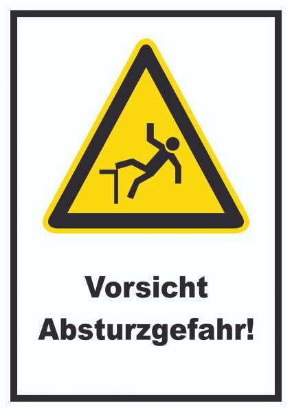 Vorsicht Absturzgefahr Schild
