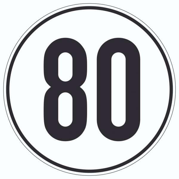 80km/h Geschwindigkeit Aufkleber Kreis