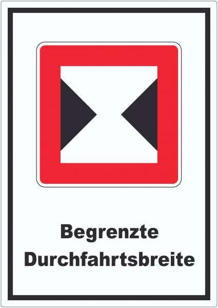Begrenzte Fahrwasserbreite Durchfahrtsbreite begrenzt Symbol und Text Aufkleber