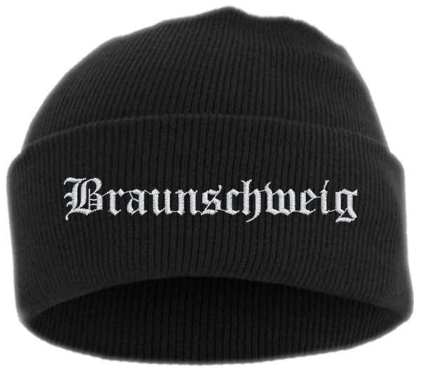 Braunschweig Umschlagmütze - Altdeutsch - Bestickt - Mütze mit breitem Umschlag