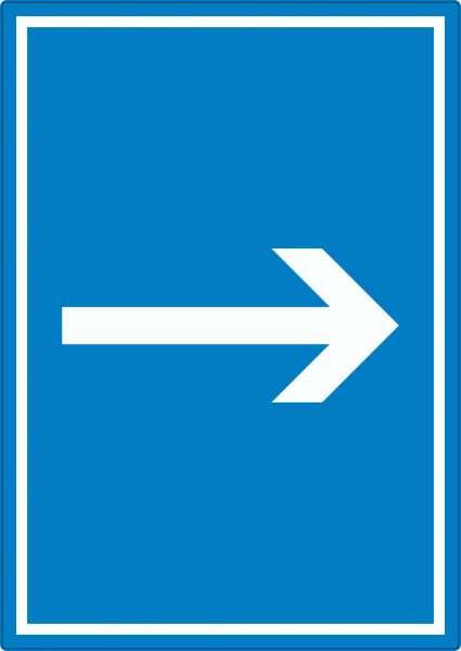 Richtungspfeil rechts Aufkleber hochkant weiss blau Pfeil