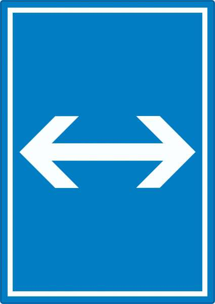 Richtungspfeil rechts links Aufkleber hochkant weiss blau Pfeil