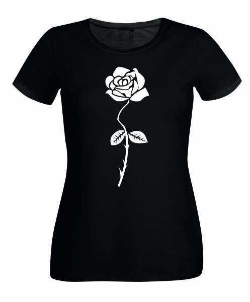 Rose Aufdruck s/w Varianten Damen T-Shirt