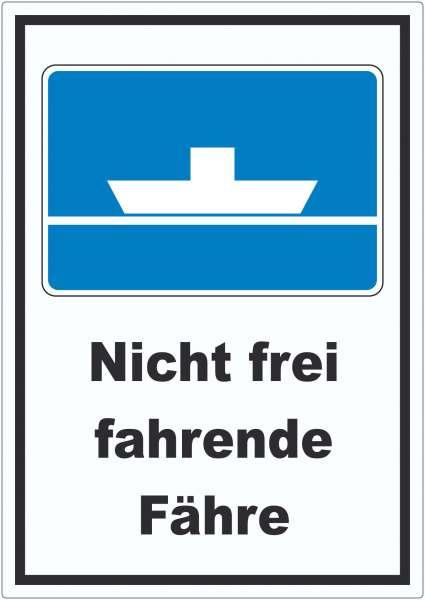 Nicht frei fahrende Fähre Symbol und Text Aufkleber