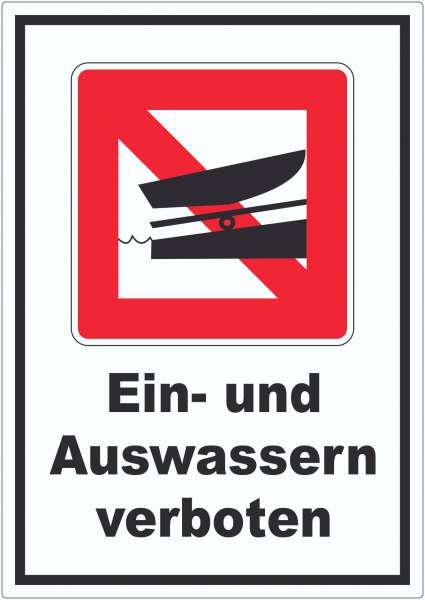 Ein- und Auswassern verboten Symbol und Text Aufkleber