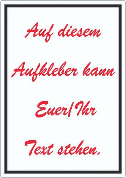 Schreibschrift Aufkleber mit Wunschtext hochkant Text rot weiss schwarz