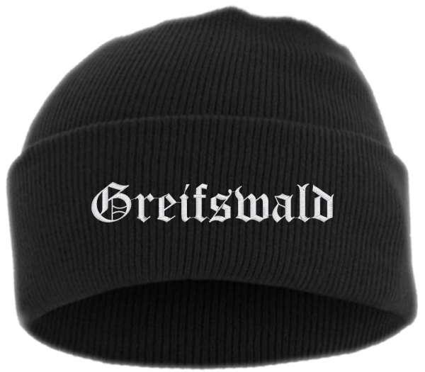Greifswald Umschlagmütze - Altdeutsch - Bestickt - Mütze mit breitem Umschlag