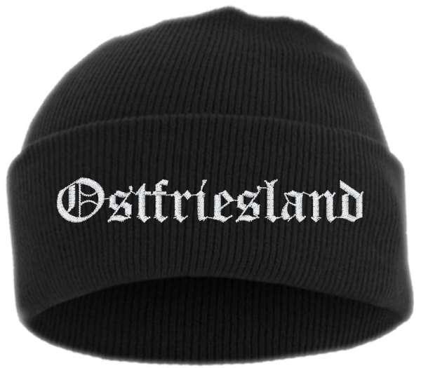 Ostfriesland Umschlagmütze - Altdeutsch - Bestickt - Mütze mit breitem Umschlag