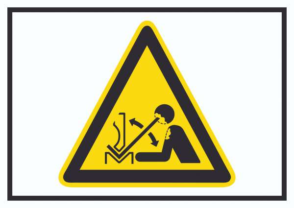 Achtung Hochschnellendes Werkstück in Presse Symbol Schild