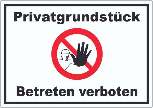 Privatgrundstück Betreten verboten Aufkleber mit Symbol kein Zutritt