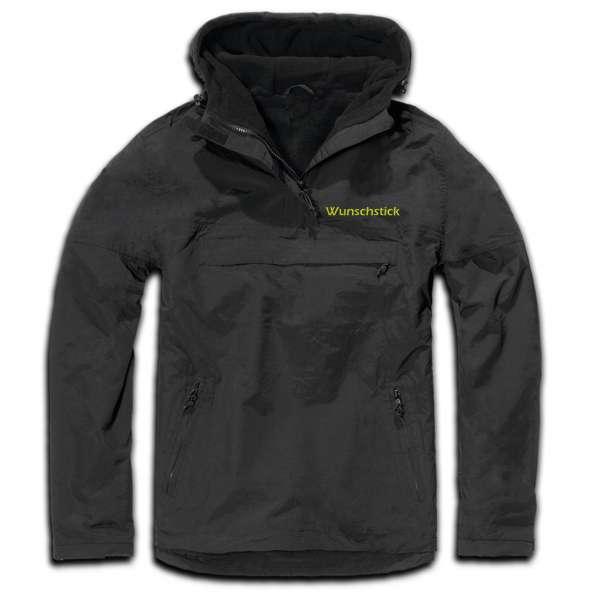 Windbreaker mit Wunschtext - Blockschrift - bestickt - Winterjacke Jacke Stickfarbe: Gelb