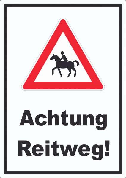 Achtung Reiterweg Aufkleber