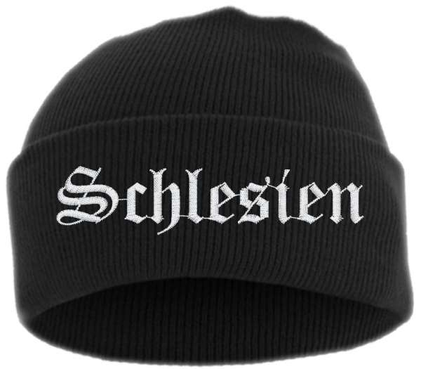 Schlesien Umschlagmütze - Altdeutsch - Bestickt - Mütze mit breitem Umschlag