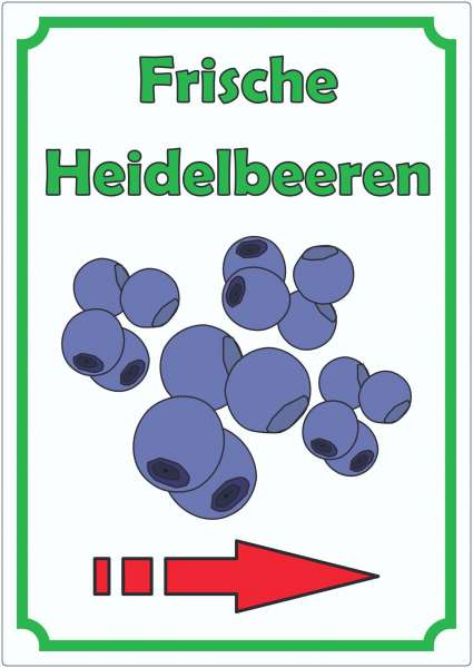 Frische Heidelbeeren Aufkleber Hochkant mit Pfeil rechts