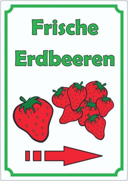 Werbeaufkleber mit Pfeil rechts Erdbeeren Aufkleber Hochkant
