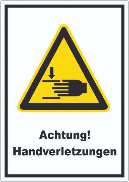 Achtung Handverletzungen Aufkleber