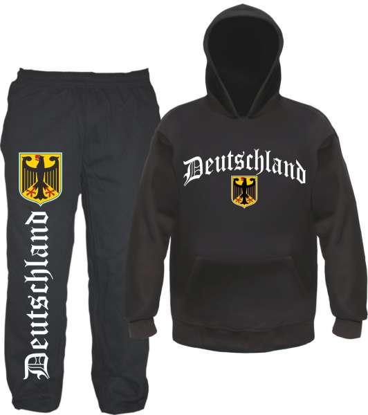 Deutschland Jogginganzug - Altdeutsch mit Wappen- Jogginghose und Hoodie