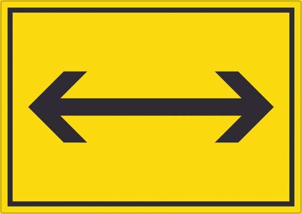 Richtungspfeil rechts und links Aufkleber waagerecht schwarz gelb Pfeil