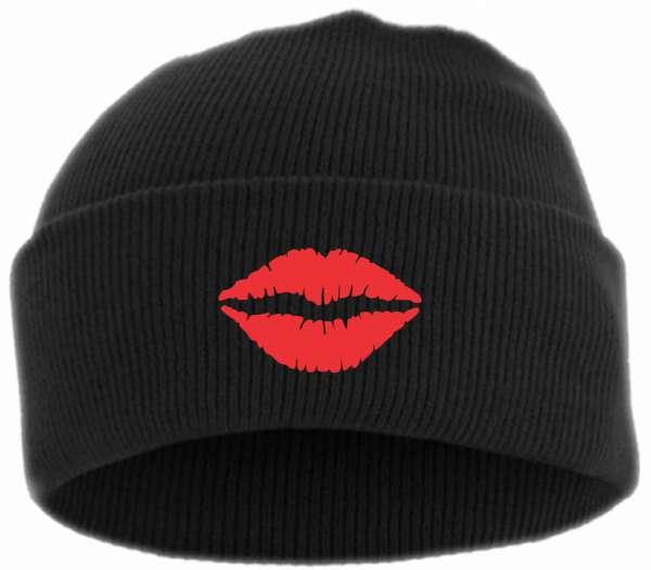 Kussmund Umschlagmütze - Bestickt - Mütze mit breitem Umschlag