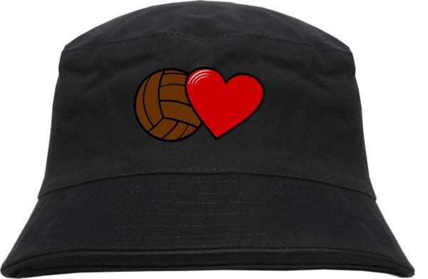 Fussball und Herz Fischerhut - bestickt - Bucket Hat Anglerhut Hut