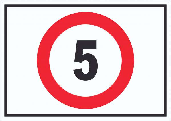 Tempo 5 km/h Geschwindigkeitsbegrenzung Schild Symbol