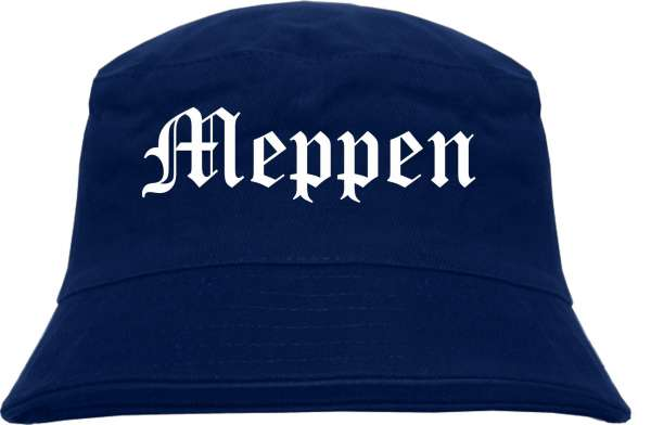 Meppen Fischerhut - Dunkelblau - Altdeutsch - bedruckt - Bucket Hat Anglerhut Hut
