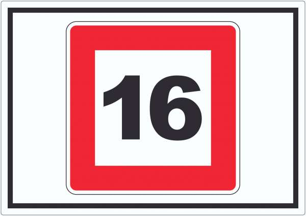 Höchstgeschwindigkeit 16 kmh nicht zu überschreiten Aufkleber mit Symbol