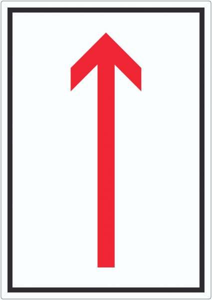 Richtungspfeil hoch Aufkleber hochkant rot weiss schwarz Pfeil