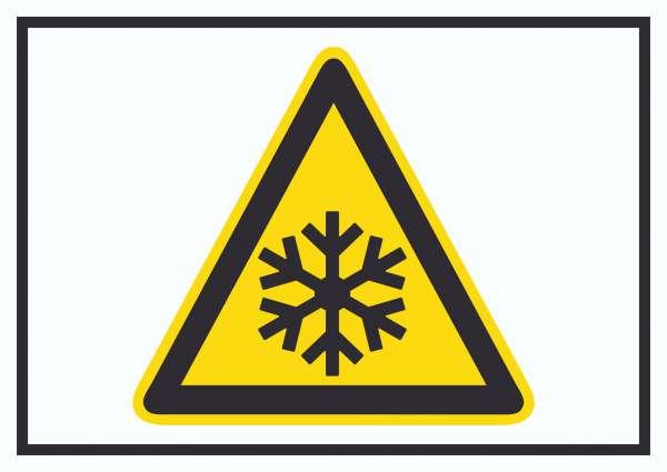Achtung Kälte Symbol Schild